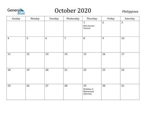 october  calendar philippines