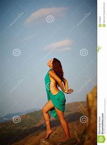 Beautiful Girl Standing On A Precipice Stock Image - Image ...