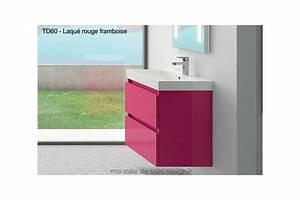 Meuble suspendu avec lavabo 60 cm et double tiroir for Salle de bain design avec meuble salle de bain 60 cm castorama