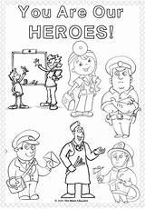 Colouring Workers Key Sheets Thank Coloring Heroes Police Worker Hero Nurses Doctors Children Superhero Activities Fun Themumeducates Mum Educates Community sketch template