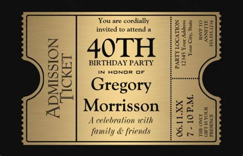 40th Birthday Party Invitations Wording Bagvania FREE