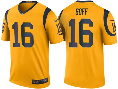 jared goff los angeles rams gold color rush legend jersey