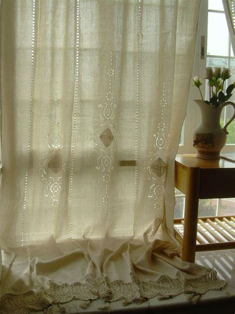 2 x tab top cotton linen crochet lace beige curtain panel
