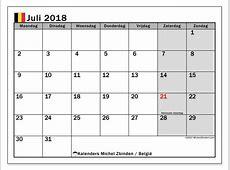Kalender juli 2018, België Michel Zbinden nl