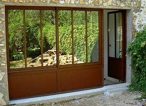 baie vitree dijon jean luc vilandrau veranda verriere With porte de garage enroulable et porte style atelier en bois