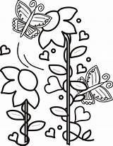 Coloring Butterflies Flowers Schmetterling Clip Turquoise Ausmalbilder Border Cliparts Flying Seite Library Clipart sketch template