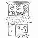Ice Cream Drawn Drawing Clipart Boutique Coloring Buildings Zeichnen Dibujo Dibujos Drawings Shops Basteln Bakery Disegni Arte Digi Muster Gezeichnet sketch template