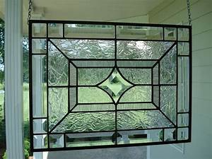 Beveled Star & Clear Textures Stained Glass Window Panel