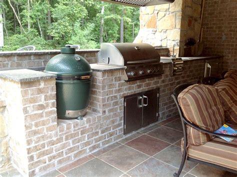 outdoor kitchen designs with smoker brick outdoor kitchen with green egg smoker and stainless 7238