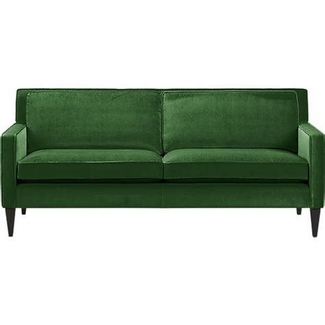 And Barrel Apartment Sofa by Rochelle Apartment Sofa In Green Velvet Crate And Barrel
