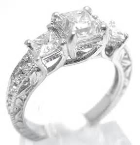 emerald cut sapphire engagement rings princess cut three antique style engagement ring with filigree p59
