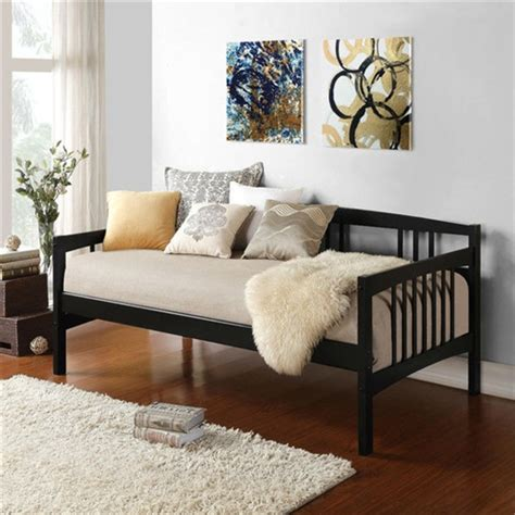 twin size black solid wood day bed frame  wooden slats