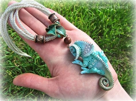Polymer clay necklace with chameleon