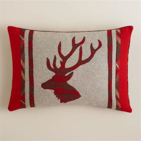 wool throw pillows stag s boiled wool throw pillow world market