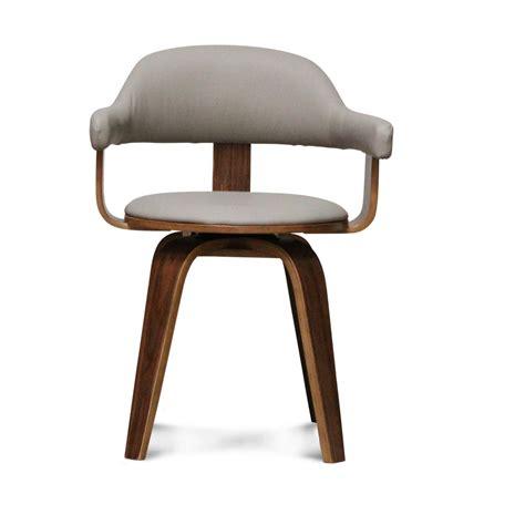 chaise design simili cuir taupe et bois massif walnut