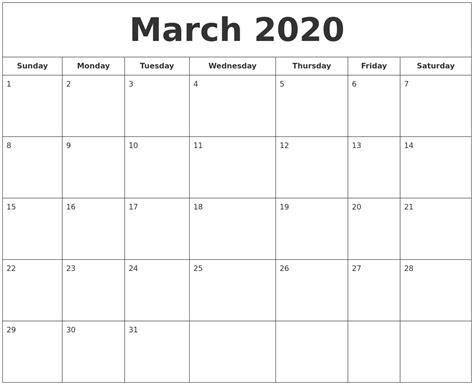 march  printable calendar