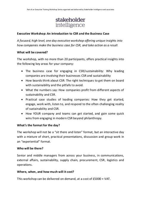 executive workshop introduction  csr