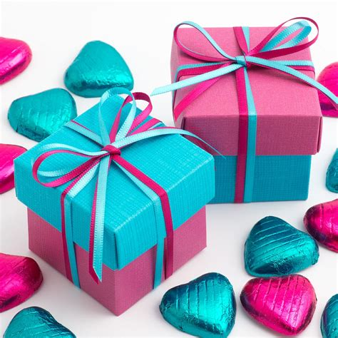 Hot Pink And Turquoise Two Tone Favour Boxes At Favour This