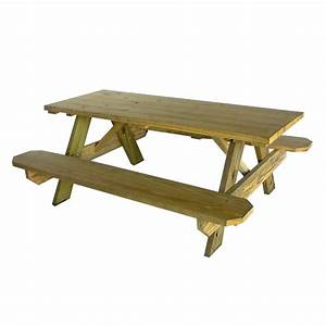 Shop 72-in Brown Southern Yellow Pine Rectangle Picnic