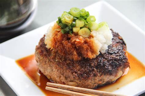 hamburger steak hamburger steak with daikon oroshi recipe japanese cooking 101