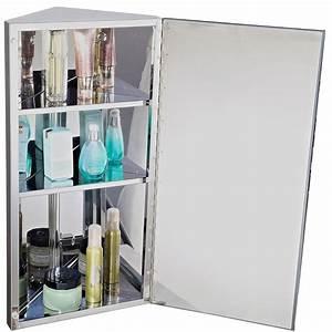 Armoire Murale Salle De Bain : homcom armoire de toilette salle de bain miroir murale d 39 angle 1 porte 2 tag res acier ~ Teatrodelosmanantiales.com Idées de Décoration