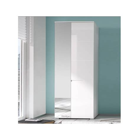 Slim Mirrored Wardrobe by White Gloss Slim Wardrobe With Mirrored Door