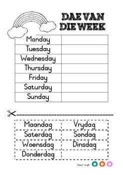 days of the week in afrikaans by donne wright teachers