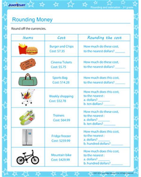 rounding money rounding and estimating worksheet for 2nd