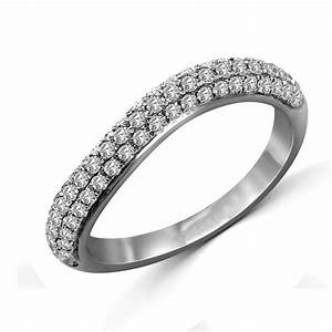 Curved Round Diamond Wedding Band For Her JeenJewels