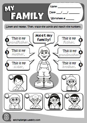 preschool family members matching worksheet preschool