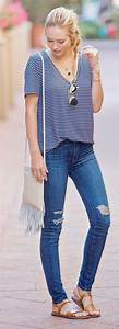 Awesome and Colorful Shirts with Skinny Jeans and Comfortable Flats Collection for Ladies ...