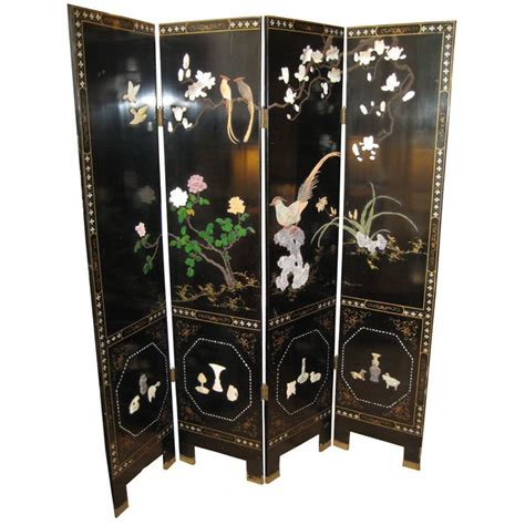 Dual Sided 4 Panel Asian Screen, Japanese Room Divider At