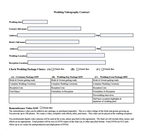 wedding contract templates  google docs ms