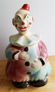 Vintage, American, Bisque, Clown, Cookie, Jar