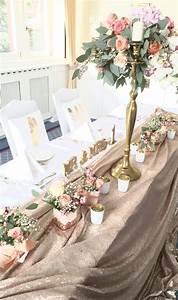 Ideen Für Kerzenständer : brautpaar tisch mit goldener pailletten decke und kerzenst nder mit blumenkugel flairville in ~ Orissabook.com Haus und Dekorationen