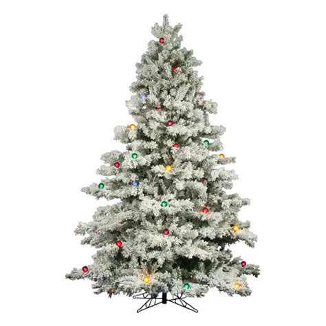 flocked alaskan 9 white artificial tree with