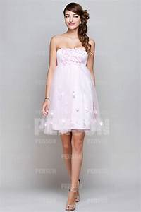 simple maternity petal pink short party dress ppda0030 With robe longue témoin mariage