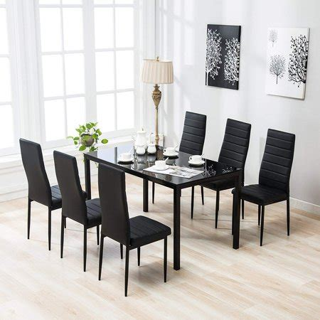 zimtown  pcs glass dining table set   leather chairs