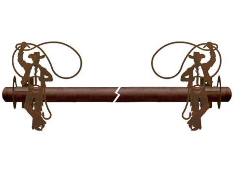cowboy roping metal curtain rod holders rustic curtain