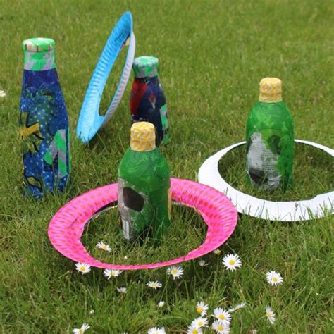 wurfspiel aus flaschen selbstgemacht mit kindern work ideas sommerfest spiele