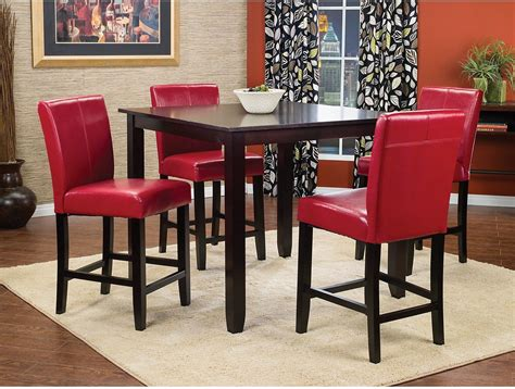 Nicole 5piece Counterheight Dining Package With Red