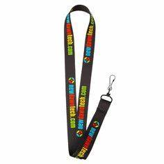 Logo Lanyard Black J Hook & ID Holder 75 inch