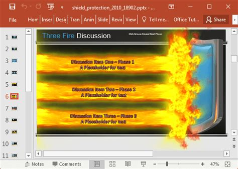 animated shield  fire powerpoint template