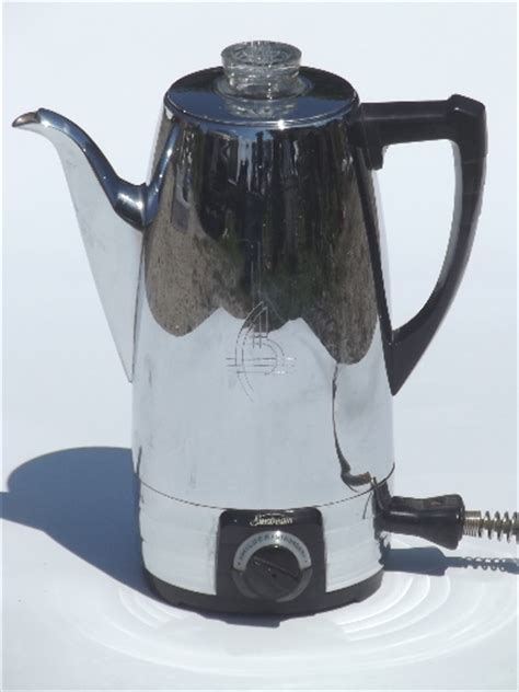 You can hunt for discount codes on many events such as flash sale, occasion like halloween, back to school, christmas, back friday, cyber. Sunbeam Coffeemaster coffee percolator, 1950s vintage coffee maker pot