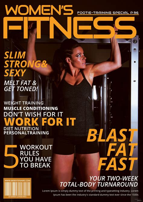 womens fitness magazine cover template  adobe