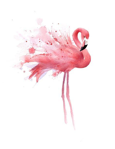 amazon com quot flamingo quot watercolor art print signed by artist dj rogers posters prints art