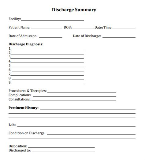 hospital discharge form word template microsoft excel