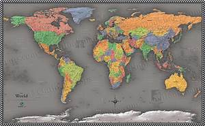 Cool Color World Map | Modern Design World Map