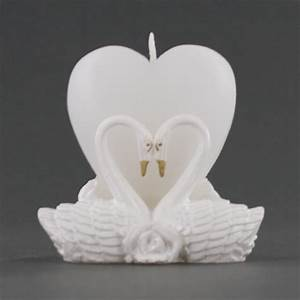 Heart shaped candle with pair of love swans wedding for Heart shaped candles wedding favor