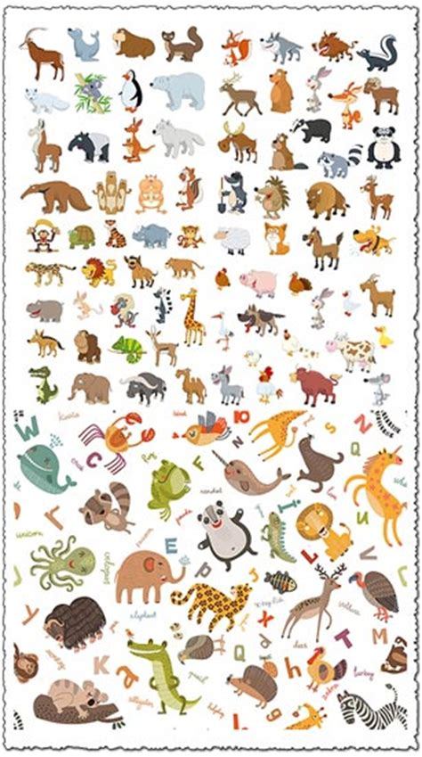 flatten jungle animals cartoon vectors